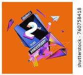 vector 2nd anniversary logo... | Shutterstock .eps vector #760758418