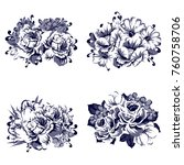 collection of flowers | Shutterstock . vector #760758706