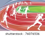 Illustration background of runners sprinting in a race around the track - stock photo