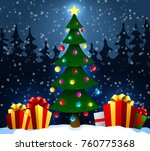 christmas tree with gifts on... | Shutterstock .eps vector #760775368