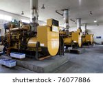 row of standby diesel generators | Shutterstock . vector #76077886