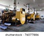 row of standby diesel generators | Shutterstock . vector #76077886