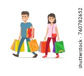 woman with purse and man with... | Shutterstock .eps vector #760782652