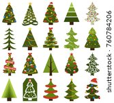 christmas trees in natural... | Shutterstock .eps vector #760784206