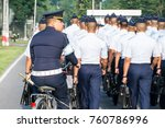 Small photo of Bangkok Thailand 23 nov 2017 :Air cadet Duty officer was seeing the air cadet parade while They were marching to pay respect National flag in Royal Thai air force academy.