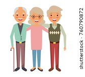 group the elderly woman and men ... | Shutterstock .eps vector #760790872