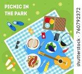 cartoon summer picnic in park...   Shutterstock .eps vector #760792372
