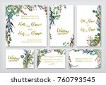 wedding invitation frame set ... | Shutterstock .eps vector #760793545
