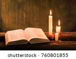 bible and candle on a old oak... | Shutterstock . vector #760801855
