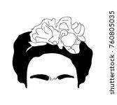 portrait of frida kahlo ...   Shutterstock .eps vector #760805035