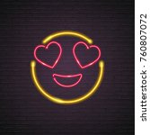 smile emoji symbol neon light... | Shutterstock .eps vector #760807072