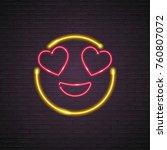 smile emoji symbol neon light... | Shutterstock .eps vector #760807072