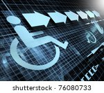 technology abstract background with symbol of accessibility and arrows - stock photo