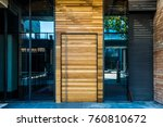 glass door of the office... | Shutterstock . vector #760810672
