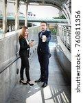 businessman and businesswoman...   Shutterstock . vector #760811356
