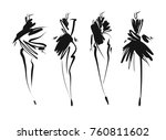 fashion models sketch hand... | Shutterstock .eps vector #760811602