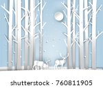 illustration vector of reindeer ... | Shutterstock .eps vector #760811905