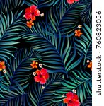 seamless hand drawn tropical... | Shutterstock .eps vector #760823056