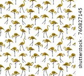 gold glitter flamingos on white ...   Shutterstock . vector #760827145