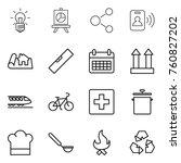 thin line icon set   bulb ... | Shutterstock .eps vector #760827202