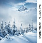 creative collage. frosty day on ... | Shutterstock . vector #760828498