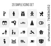 set of 20 editable folks icons. ...