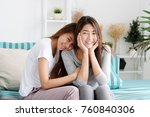 young cute asia lesbian couple... | Shutterstock . vector #760840306