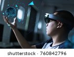 playing magic   virtual reality ... | Shutterstock . vector #760842796