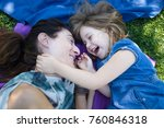 woman mother and four years old ... | Shutterstock . vector #760846318