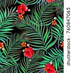 seamless hand drawn tropical... | Shutterstock .eps vector #760847065