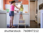 funny scene. woman mother and... | Shutterstock . vector #760847212