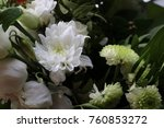 white flowers surrounded by... | Shutterstock . vector #760853272