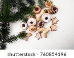mixed christmas cookies.... | Shutterstock . vector #760854196