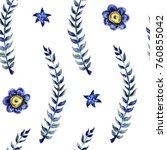 flowers watercolor pattern   Shutterstock . vector #760855042
