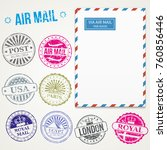 air mail stamps and envelope... | Shutterstock .eps vector #760856446