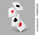 falling poker playing cards of... | Shutterstock .eps vector #760856656