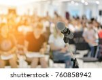 microphone over abstract... | Shutterstock . vector #760858942