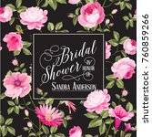 bridal shower invitation with... | Shutterstock .eps vector #760859266