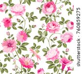 red roses pattern for wallpaper ... | Shutterstock .eps vector #760859275