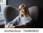comfortable blond woman smiling ... | Shutterstock . vector #760860832