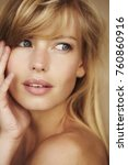 gorgeous blond girl in close up ... | Shutterstock . vector #760860916