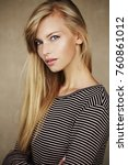 stunning young blond woman in... | Shutterstock . vector #760861012