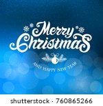 merry christmas and happy new... | Shutterstock .eps vector #760865266