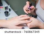 closeup shot of manicure in a... | Shutterstock . vector #760867345