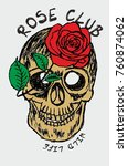 rose and skull graphic design... | Shutterstock .eps vector #760874062