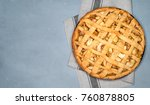 apple pie tart with raisins ... | Shutterstock . vector #760878805