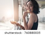 woman eating crispy chips snack ... | Shutterstock . vector #760880035