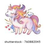 watercolor hand drawn vibrant... | Shutterstock . vector #760882045
