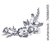 vintage vector floral... | Shutterstock .eps vector #760886455