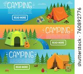 camping concept. colored three... | Shutterstock .eps vector #760892776